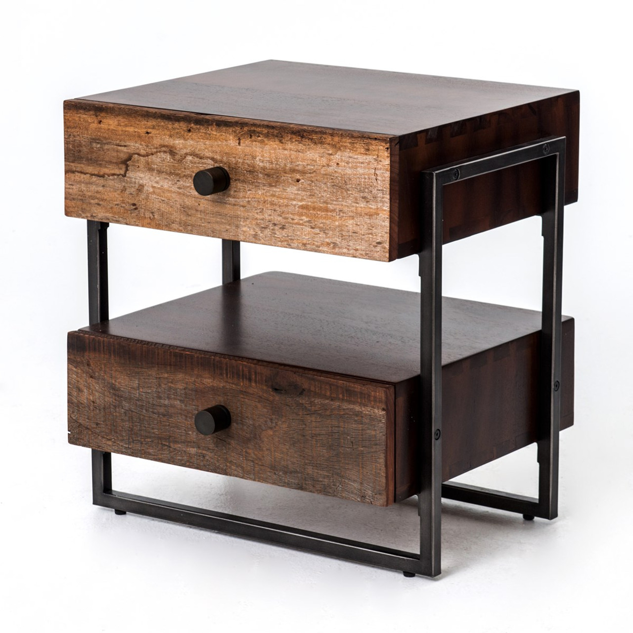 Milo Industrial 2 Drawer End Table