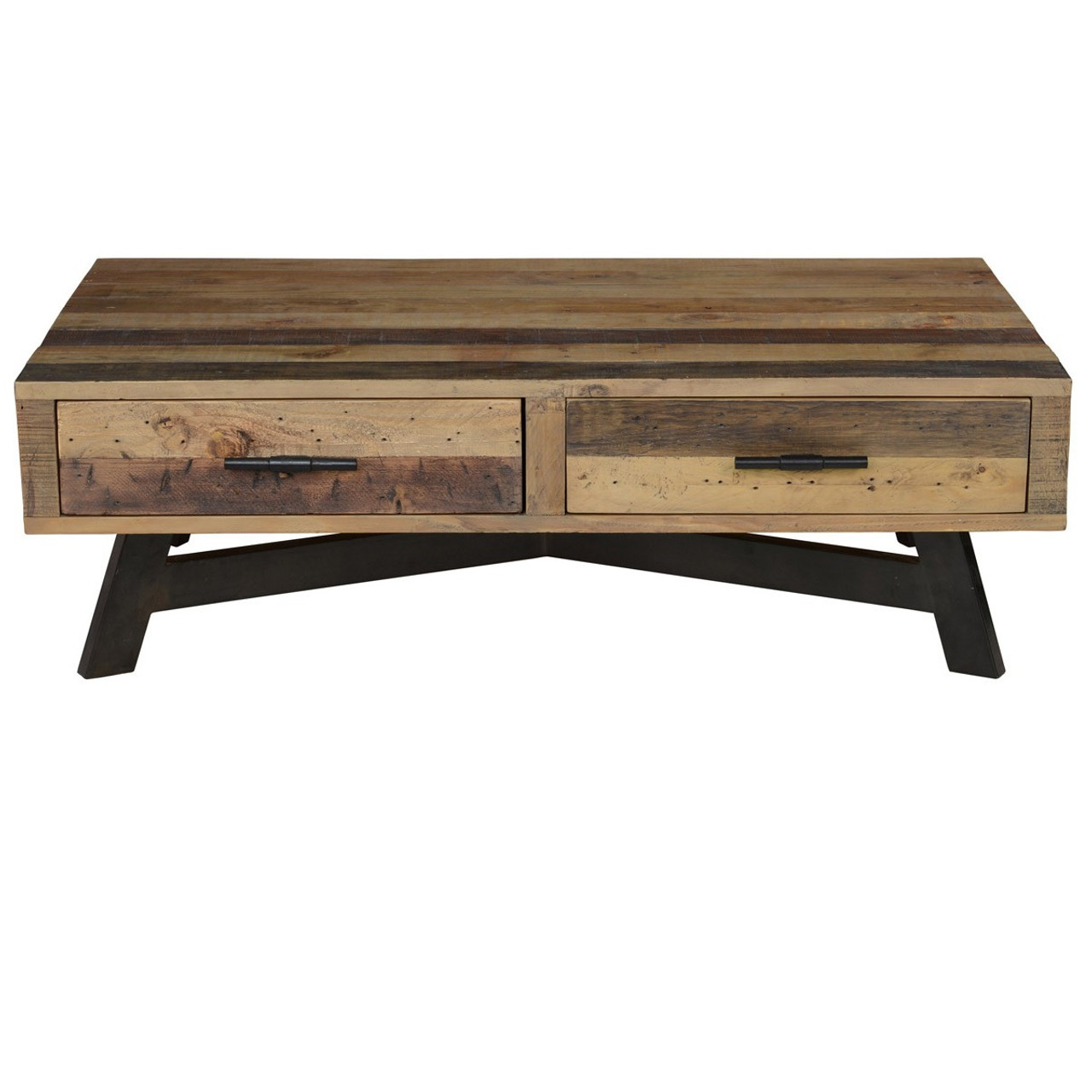 Farmhouse Kitchen Table With Drawers: Farmhouse Reclaimed Wood Coffee Table With 2 Drawers