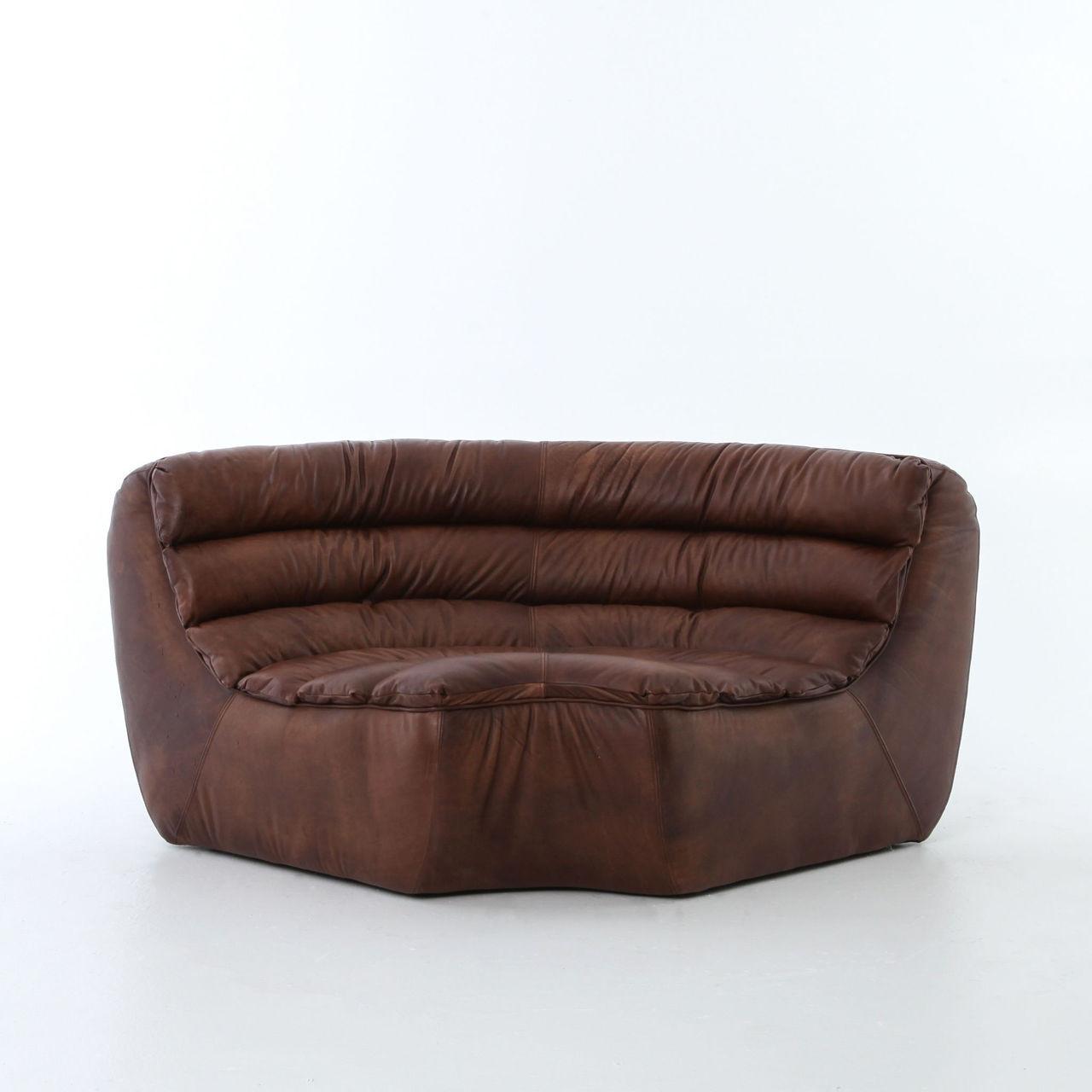 Magna Antique Whiskey Leather Armless Corner Sofa