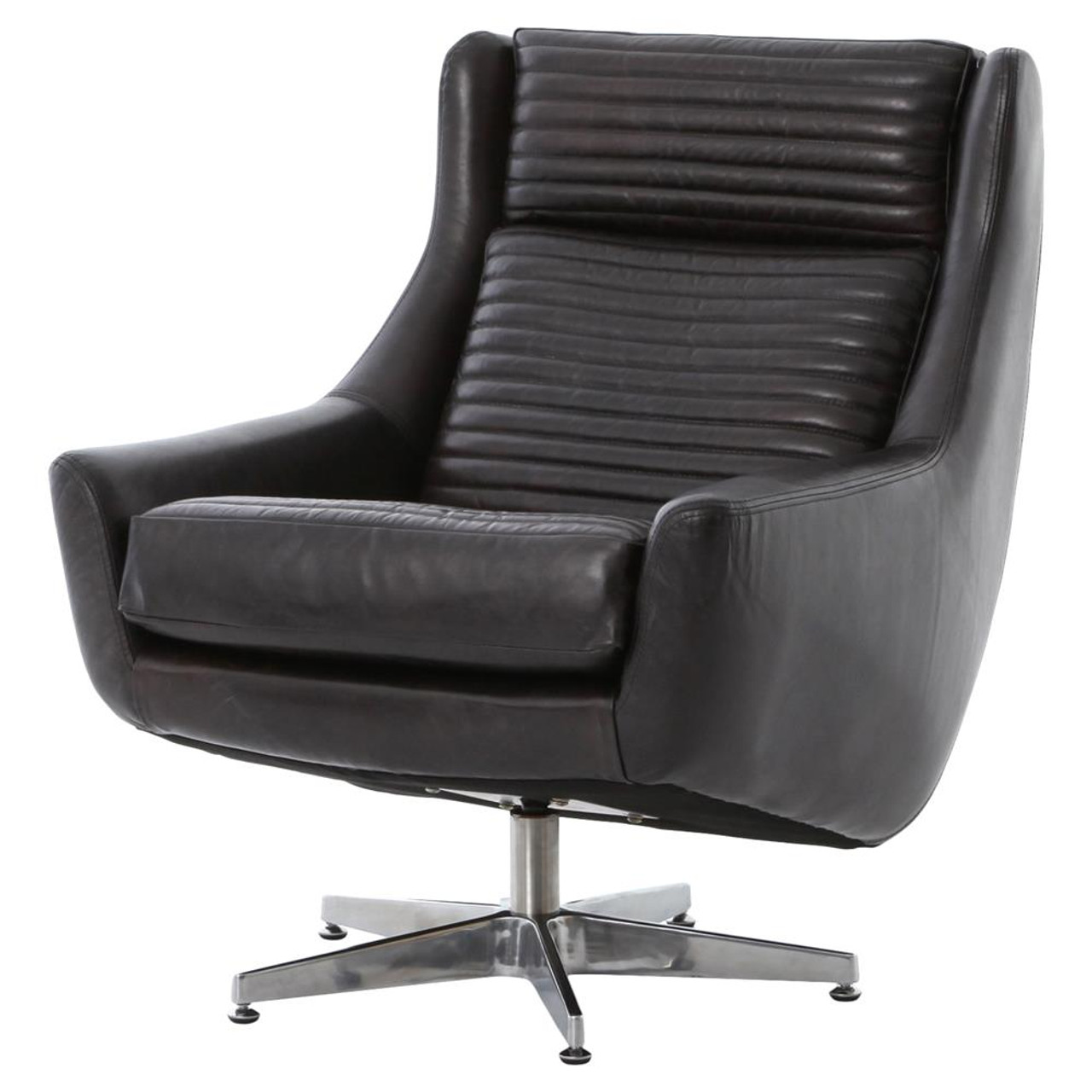 A Shapely Swivel Seat Inspired By Mid Century Design Our: English Charles Black Leather Swivel Chair