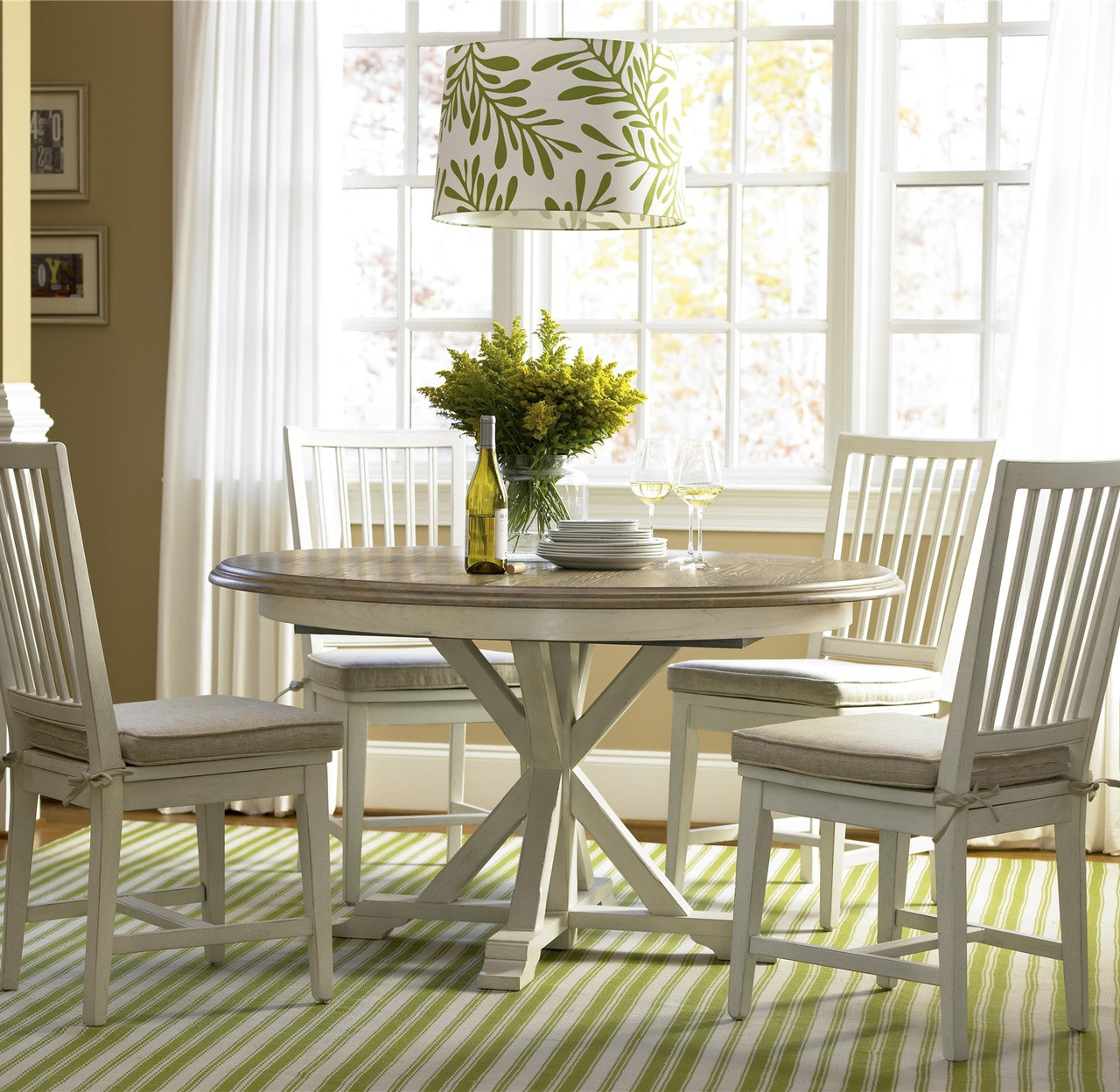 Nice Coastal Beach White Oak Round Dining Room Set