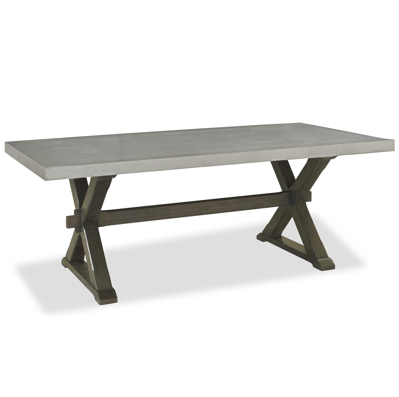 Flatiron Oak Wood Stainless Steel XBase Dining Table Zin Home - Industrial kitchen table stainless steel