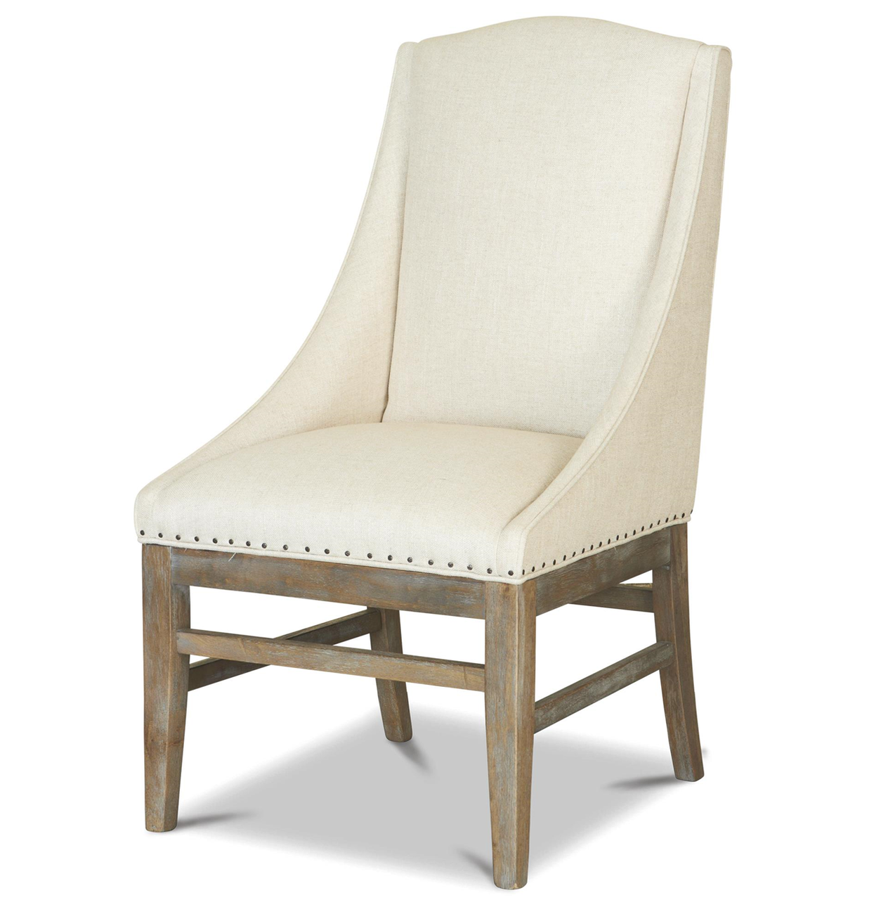 upholstered dining room arm chairs | French Oak Nailhead Upholstered Dining Arm Chair | Zin Home