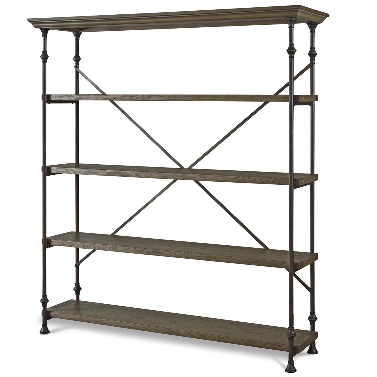 French Industrial Oak Wood + Metal Bakers Rack Shelving
