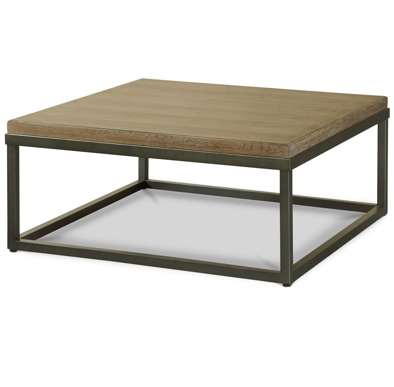 Wood And Metal Uriah Adjustable Accent Table: French Industrial Oak Wood + Metal Square Cocktail Table