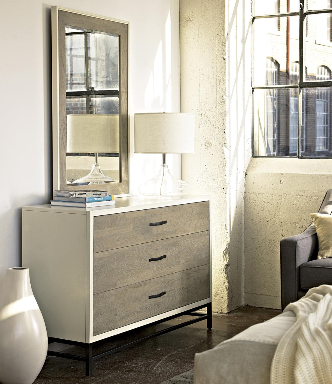 modern gray and white 3 drawer dresser with mirror - White Bedroom Dresser