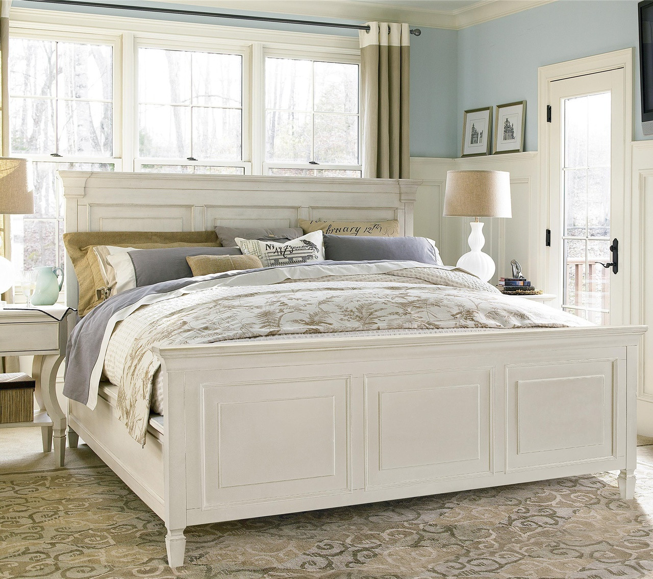 white queen size bed frame. Country-Chic White Queen Size Bed Frame Zin Home