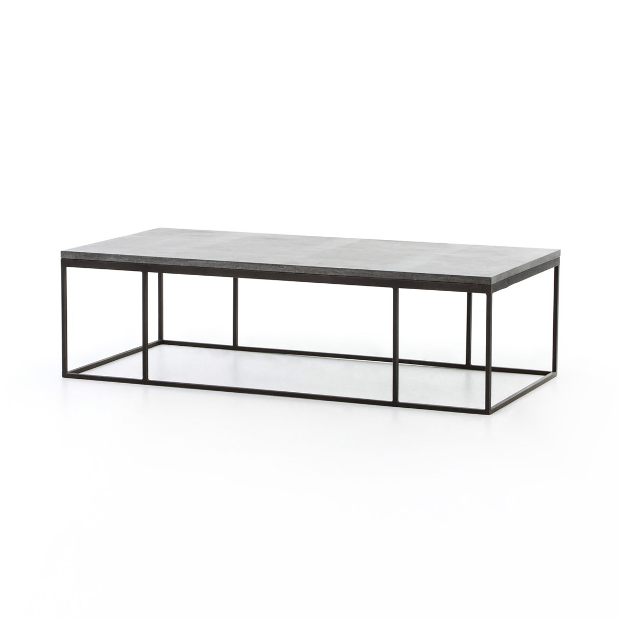 Great French Industrial Iron + Bluestone Top Coffee Table