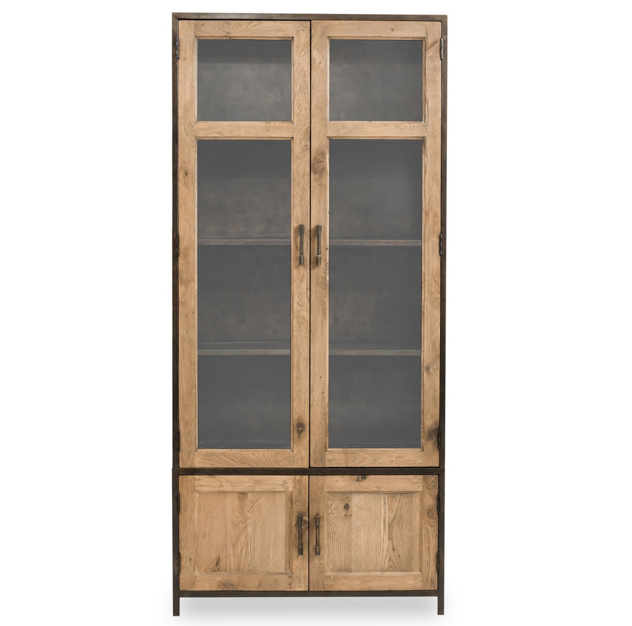 Dominic industrial metal oak tall cabinet with glass doors