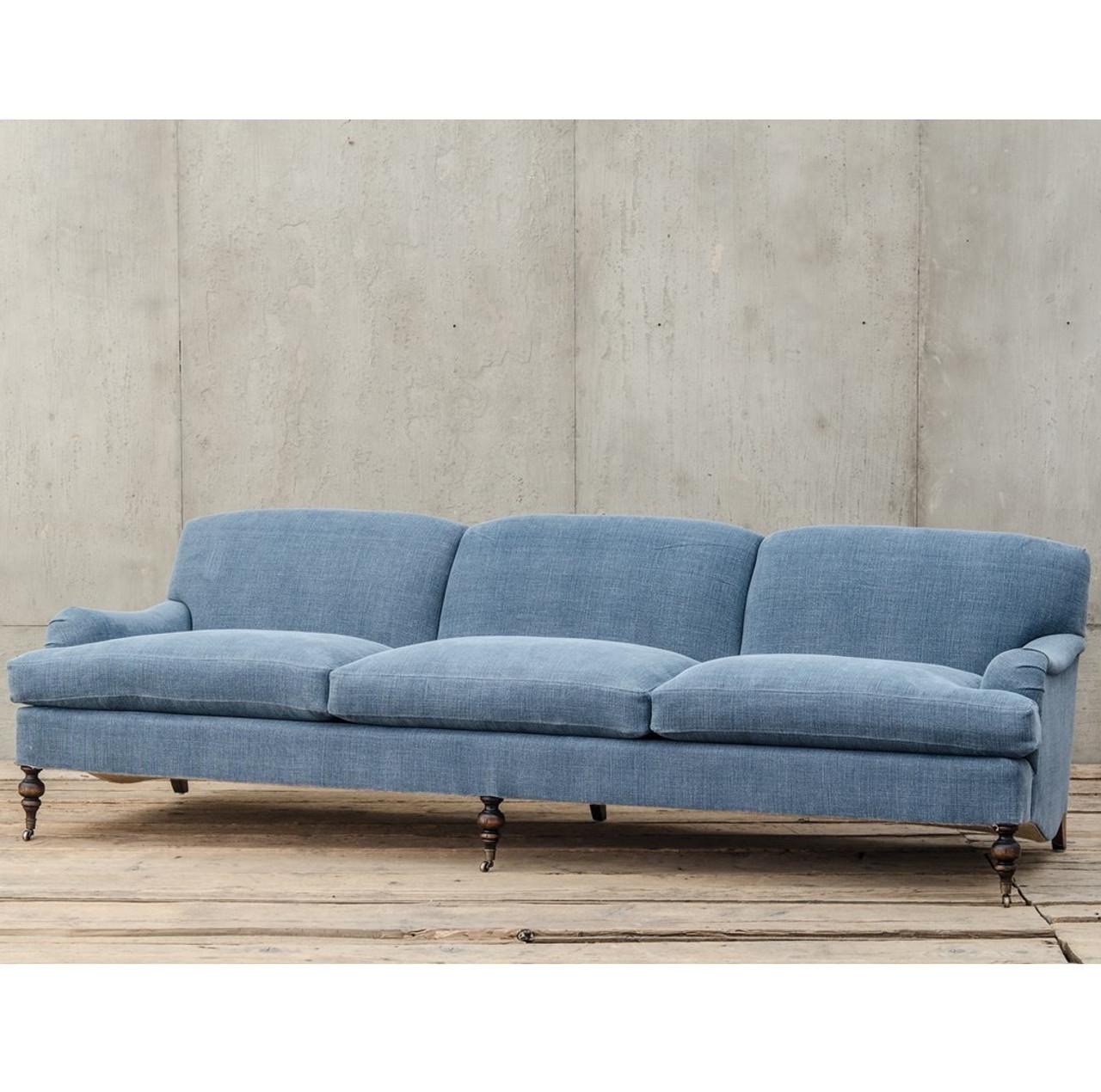 english roll arm sofa Professor Plum's Blue Linen Upholstered English Roll Arm Sofa  english roll arm sofa