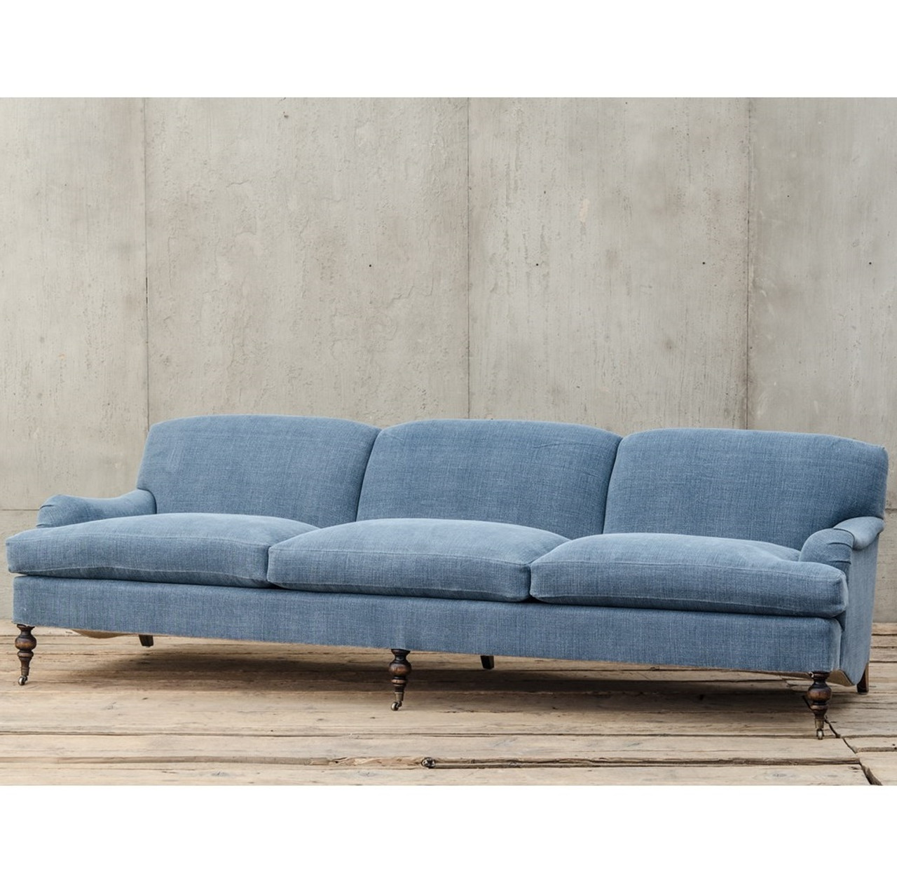 english roll arm sofa Professor Plum's Blue Linen Upholstered English Roll Arm Sofa  english roll arm sofa