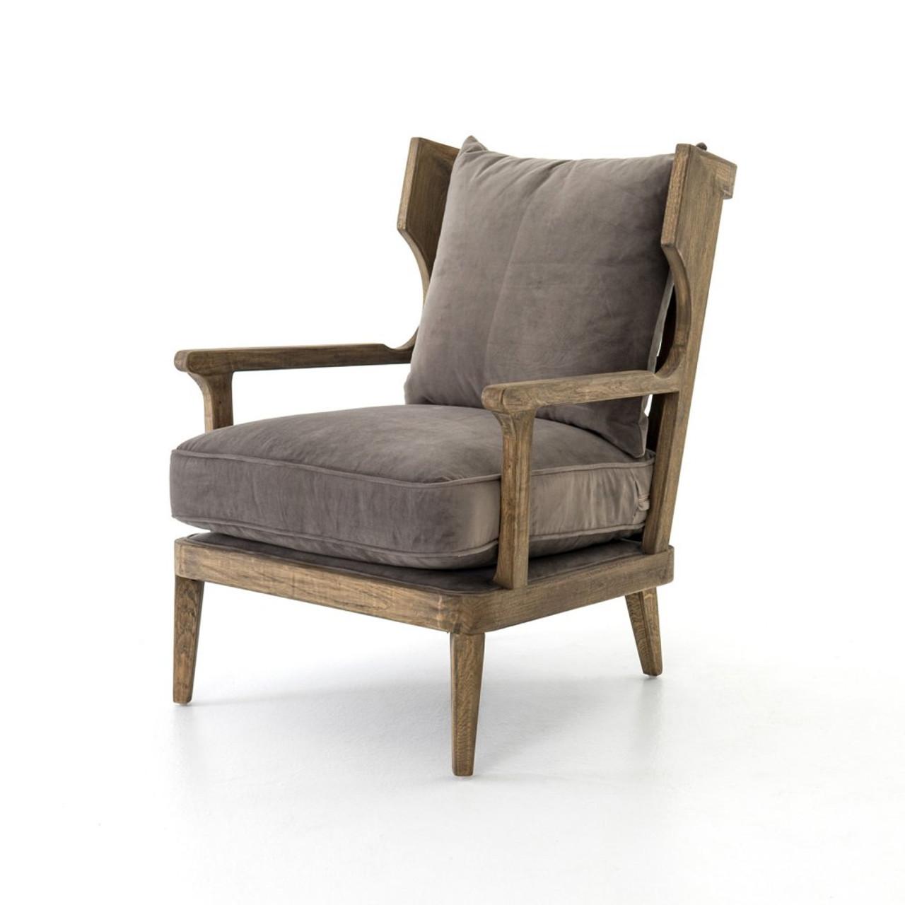 gray wingback chair. Lennon Exposed Oak Gray Velvet Wingback Chair I