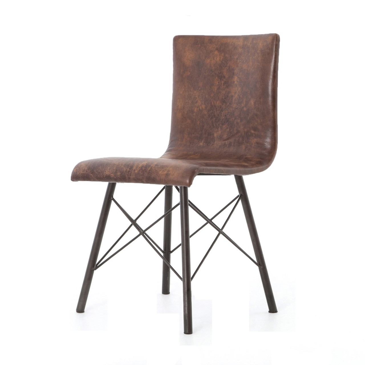 Charmant Diaw Distressed Brown Leather Dining Chair