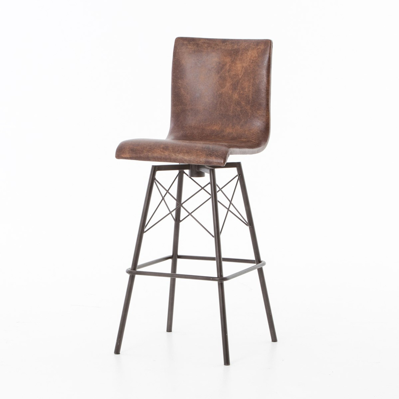 Diaw distressed leather swivel barstool
