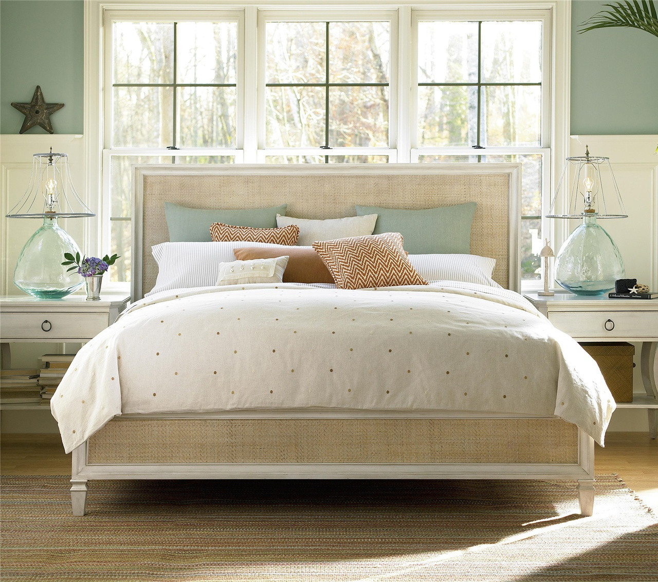 Country-Chic Woven Rattan Panel Bed Frame | Zin Home