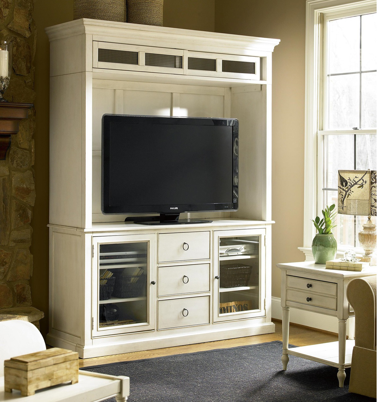 CountryChic Maple Wood White TV Stand with Hutch Zin Home