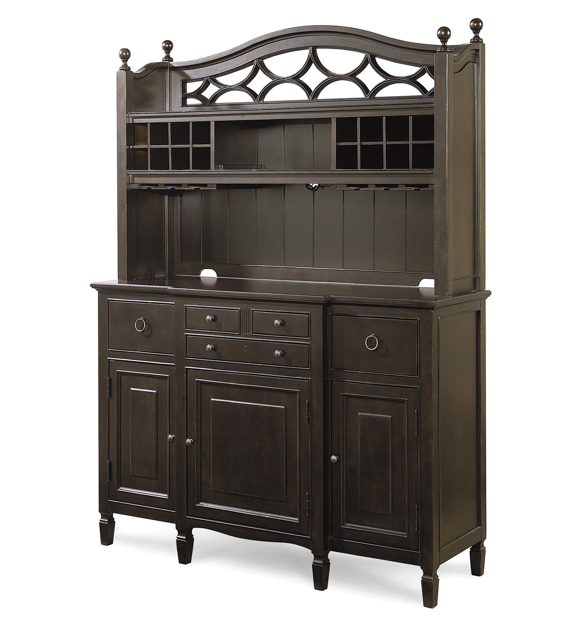 Country Chic Maple Wood Black Kitchen Buffet With Bar Hutch