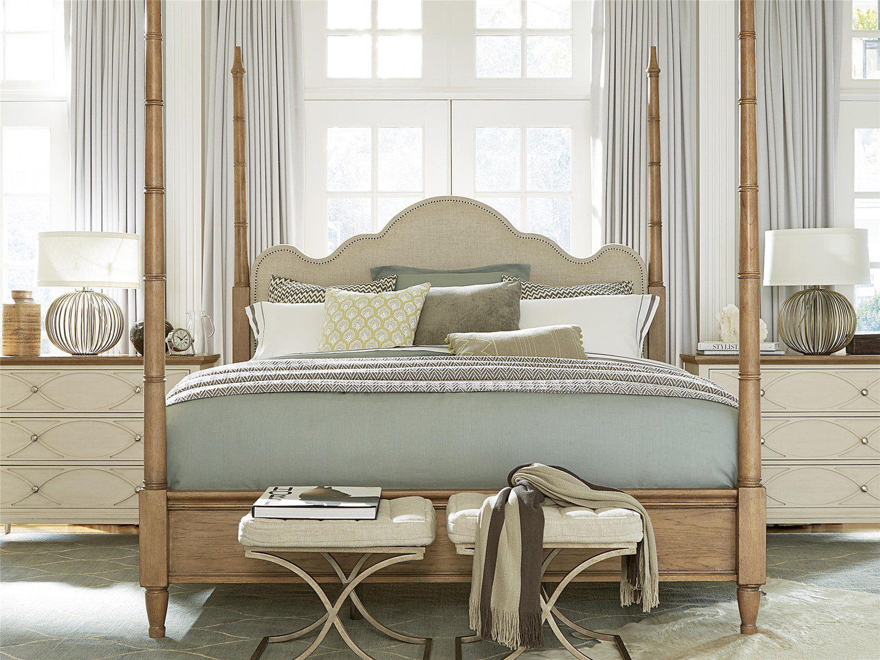 French Modern Queen Poster Bed Frame Zin Home