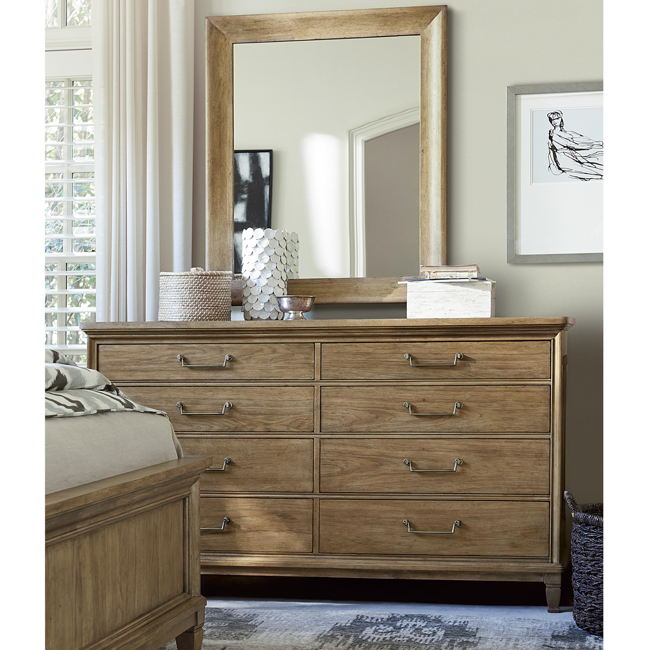 French Modern Light Wood 8 Drawer Double Dresser With Mirror