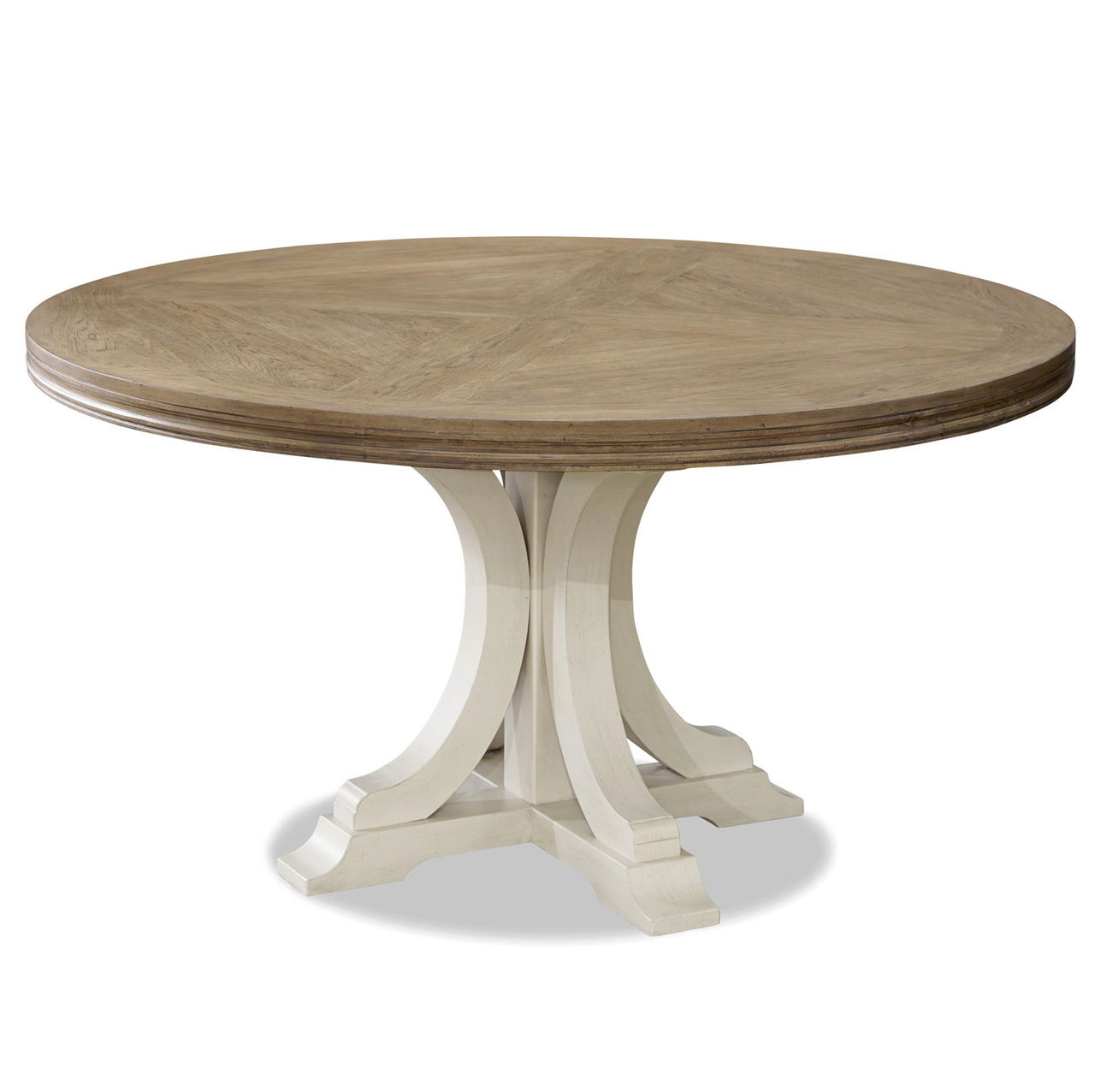 French Modern White Wood Pedestal Round Dining Table 58