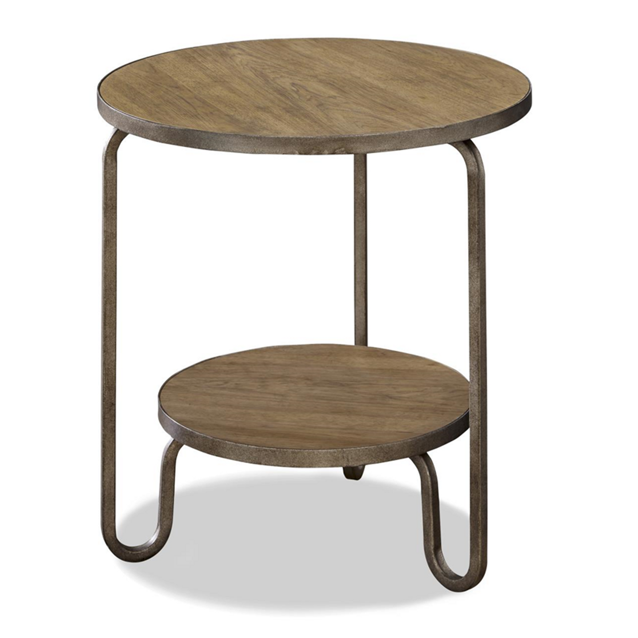 french modern industrial wood metal round end table zin home. Black Bedroom Furniture Sets. Home Design Ideas