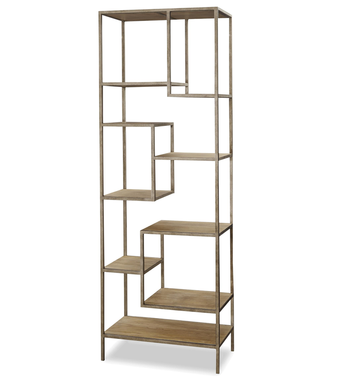 french modern industrial wood metal bookcase etagere. Black Bedroom Furniture Sets. Home Design Ideas