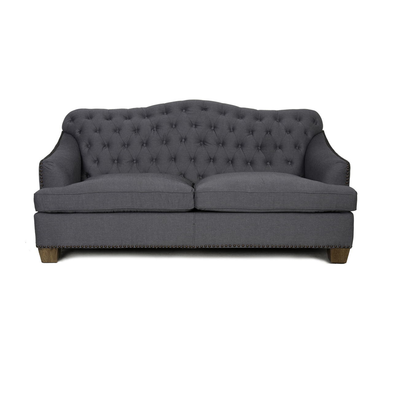 Genial Bardot Tufted Sofa With Nailheads   Charcoal