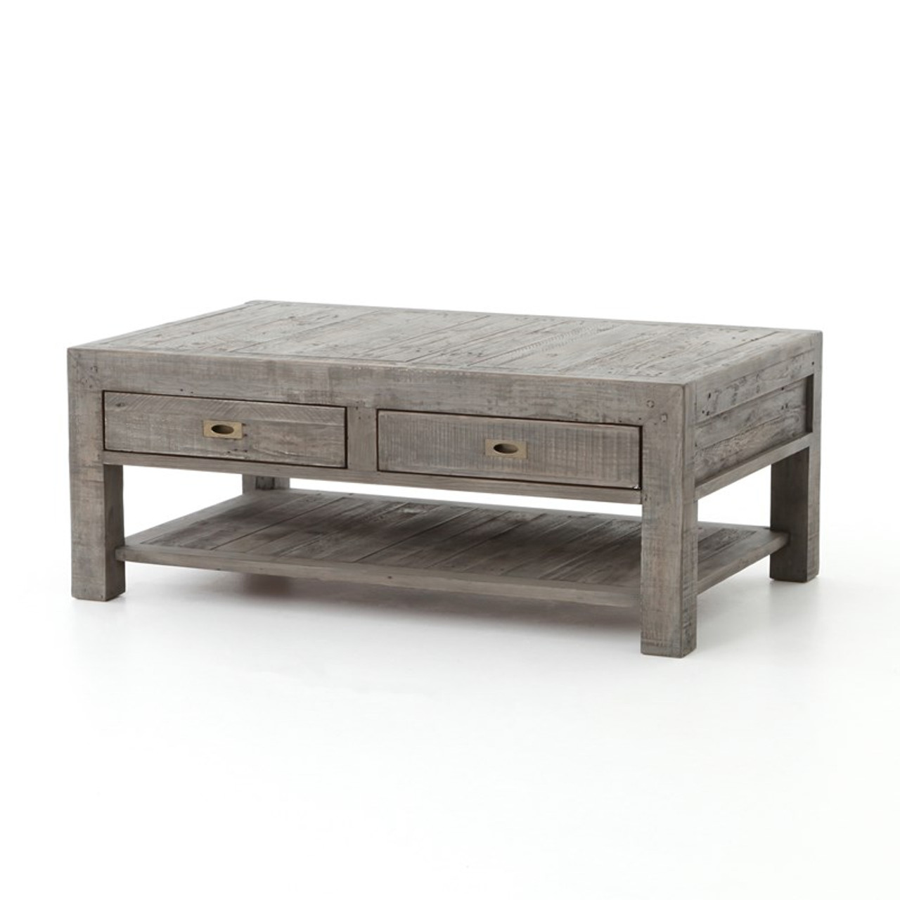 Charming Parsons Reclaimed Wood Coffee Table With 2 Drawers   Grey