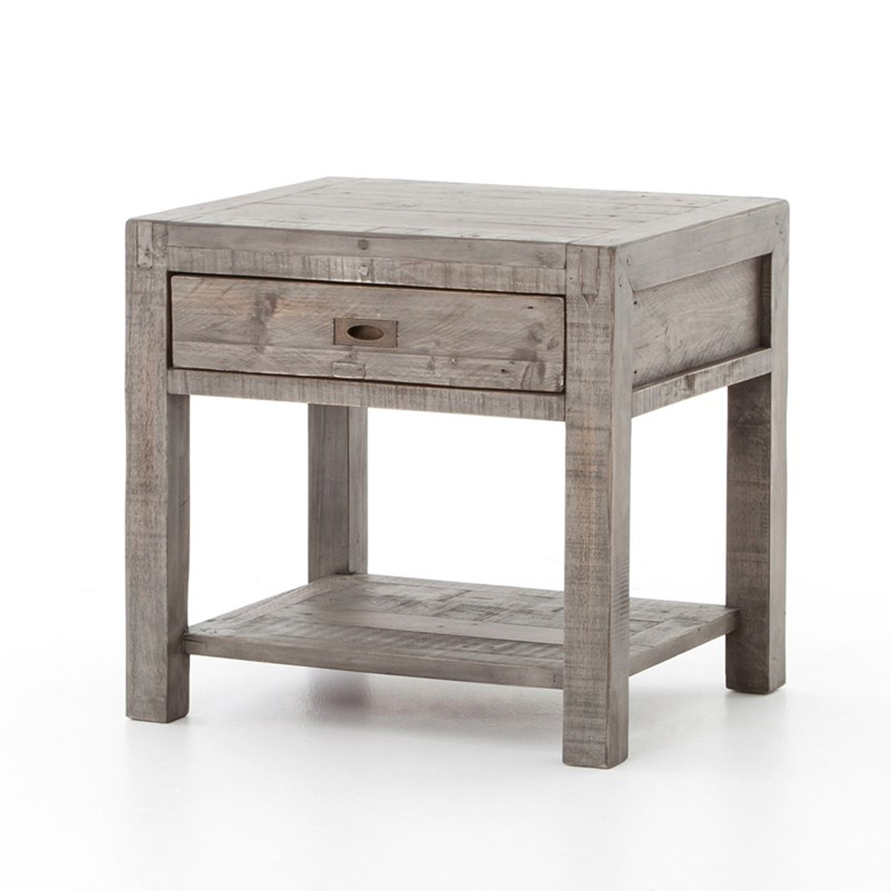 Charmant Parsons Reclaimed Wood 1 Drawer End Table   Grey