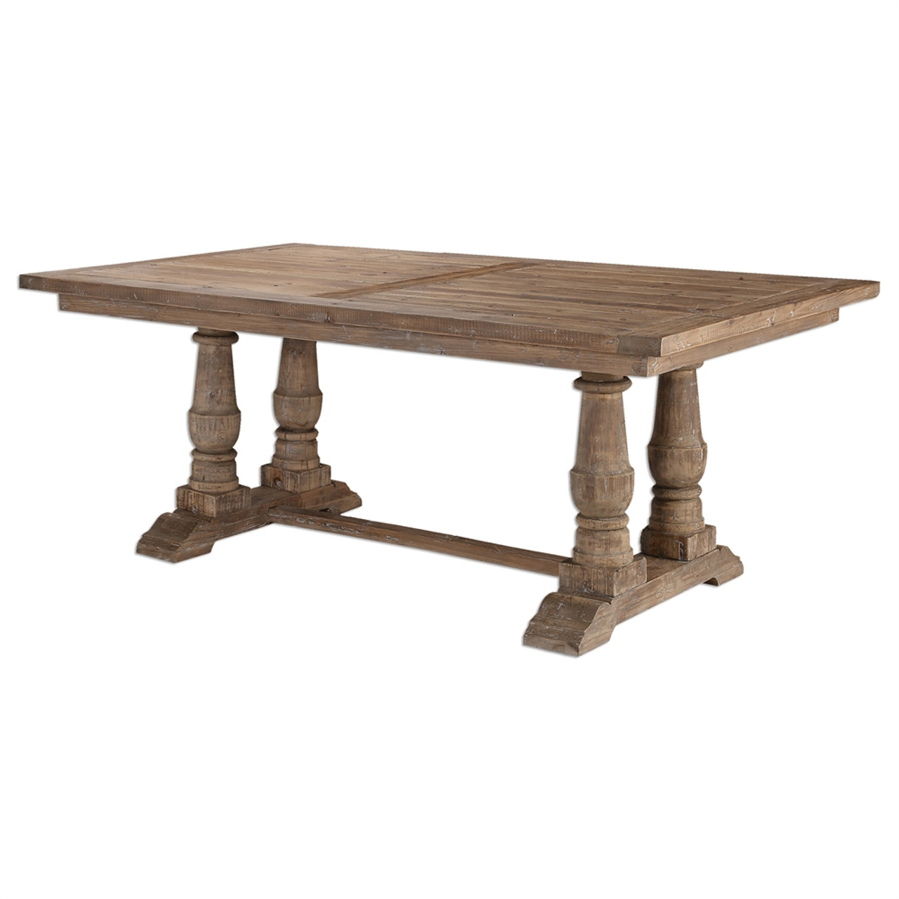 Salvaged Wood Double Trestle Dining Table Zin Home - Double pedestal trestle dining table