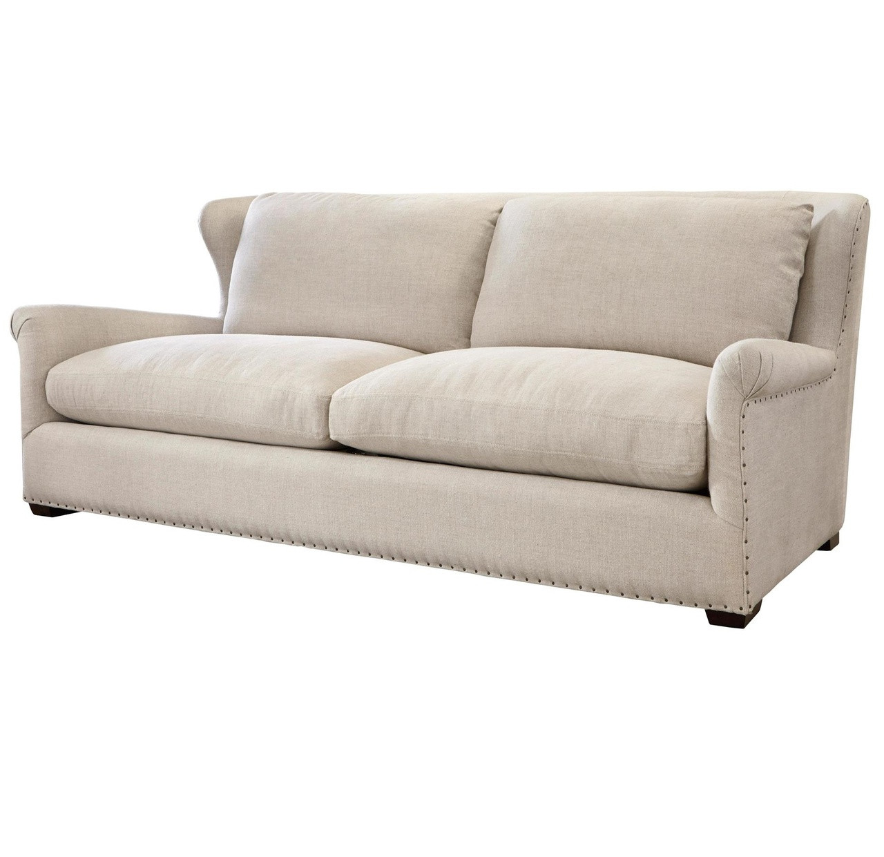 Amazing Haven Belgian Linen Upholstered Wingback Sofa