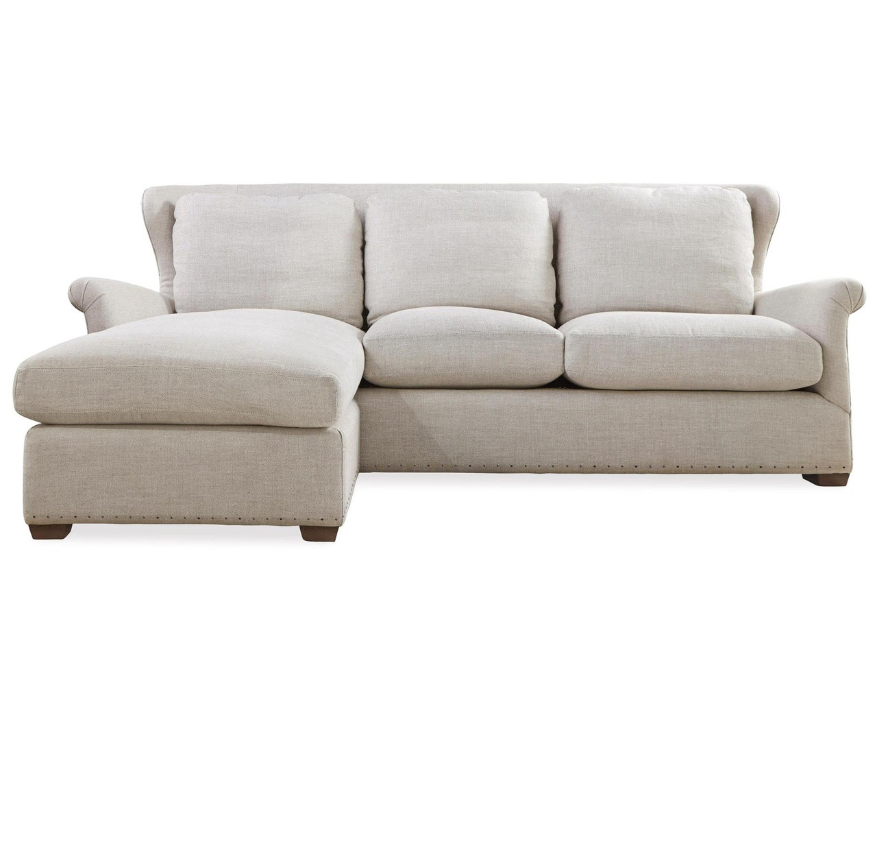 Beautiful Haven Belgian Linen Upholstered Wingback Chaise Sofa Sectional