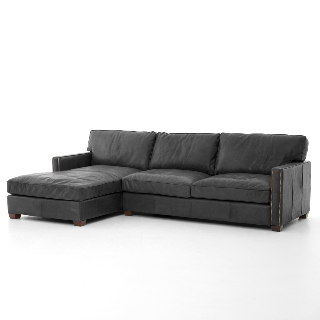 Lovely Larkin Vintage Black Distressed Leather Sectional Sofa With Chaise