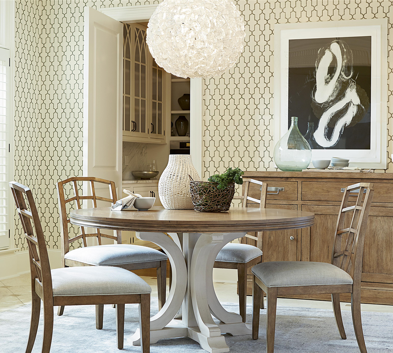 Dining Room: French Modern 5 Piece Round Dining Room Set