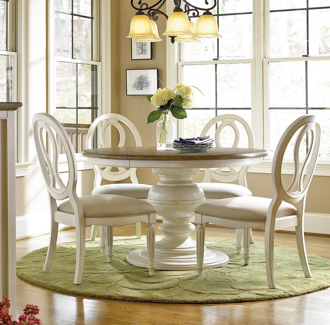 Superb Country Chic 5 Piece Round White Dining Table Set