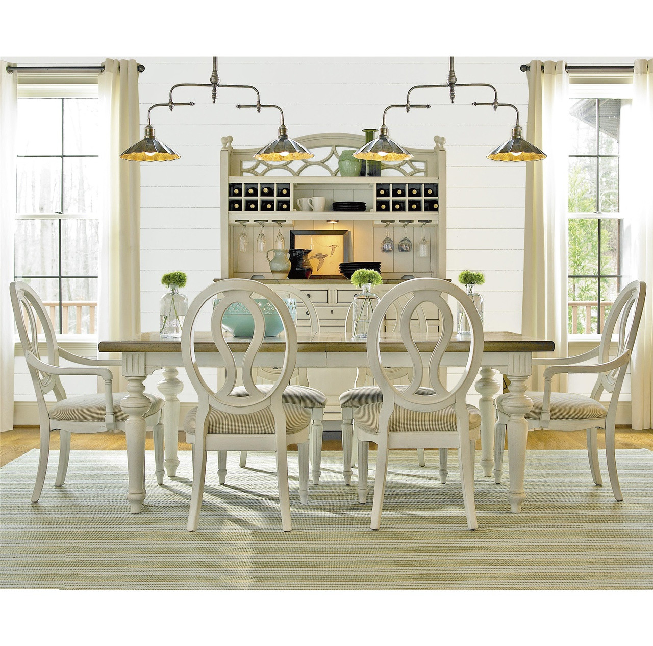Expandable Dining Room Sets: Country-Chic Wood 7 Piece White Expandable Dining Room Set