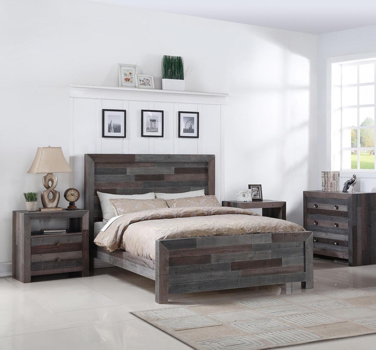 Angora Reclaimed Wood Queen Size Platform Bed - Storm ...