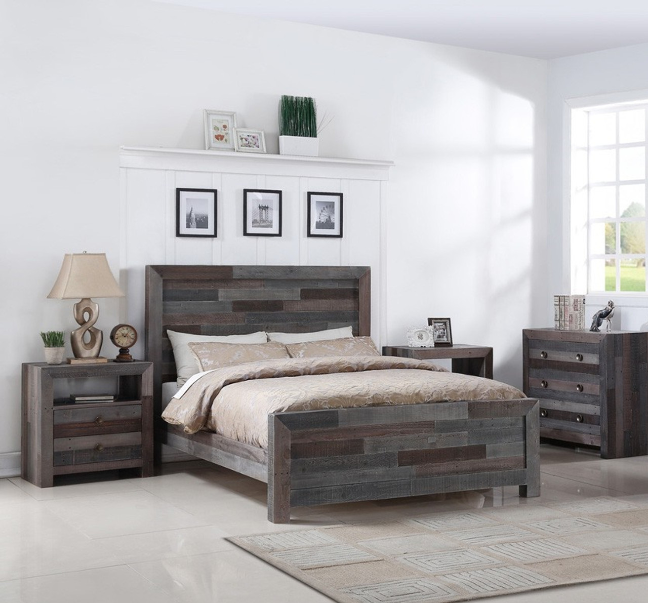 Bon Angora Reclaimed Wood Queen Size Platform Bed