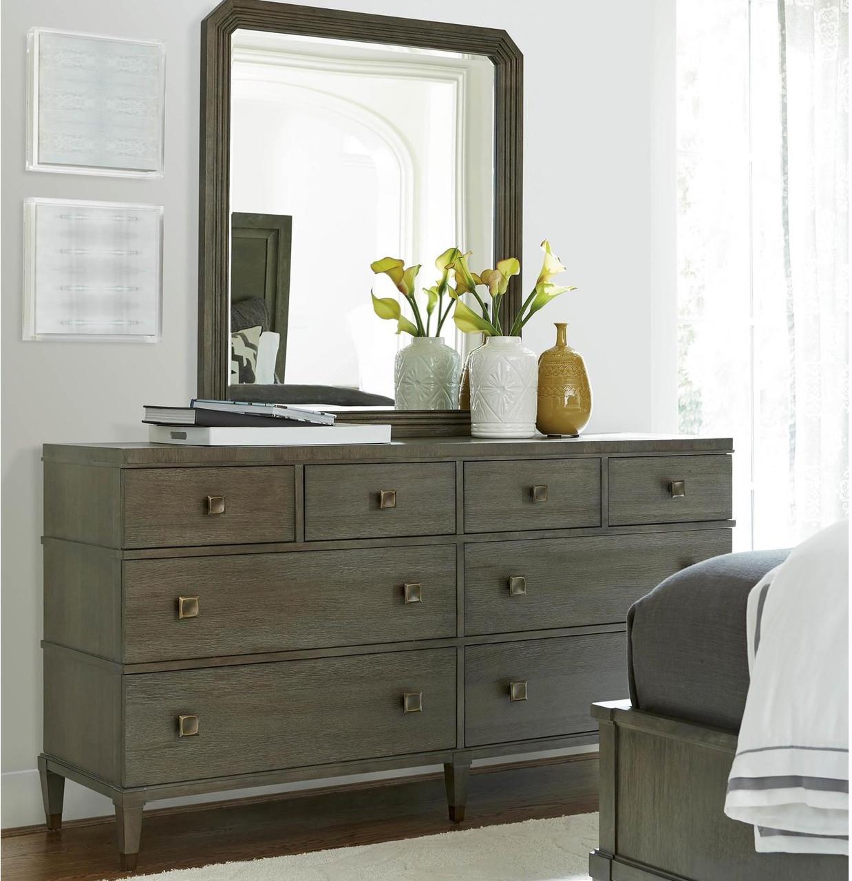 Playlist Vintage Oak 8 Drawers Dresser With Mirror Zin Home