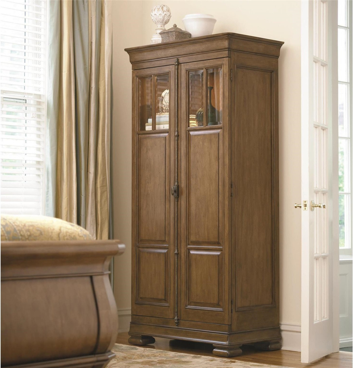 Amazing Louis Philippe Solid Wood Tall 2 Door Armoire Cabinet