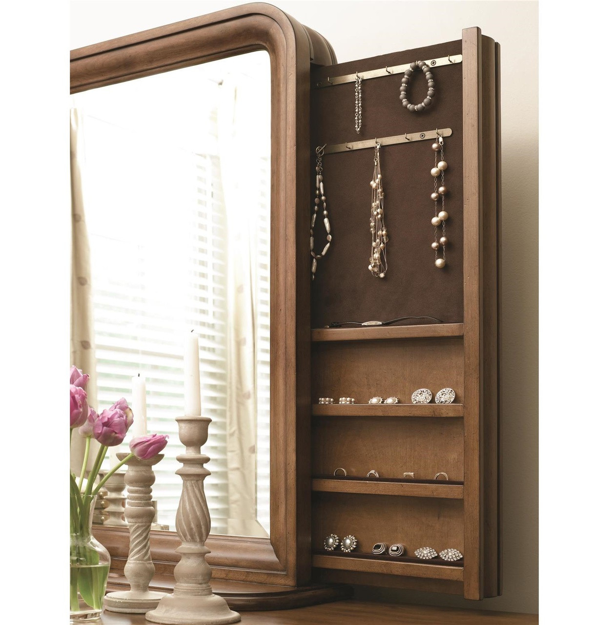 Etonnant Louis Philippe Solid Wood Mirror With Jewelry Storage