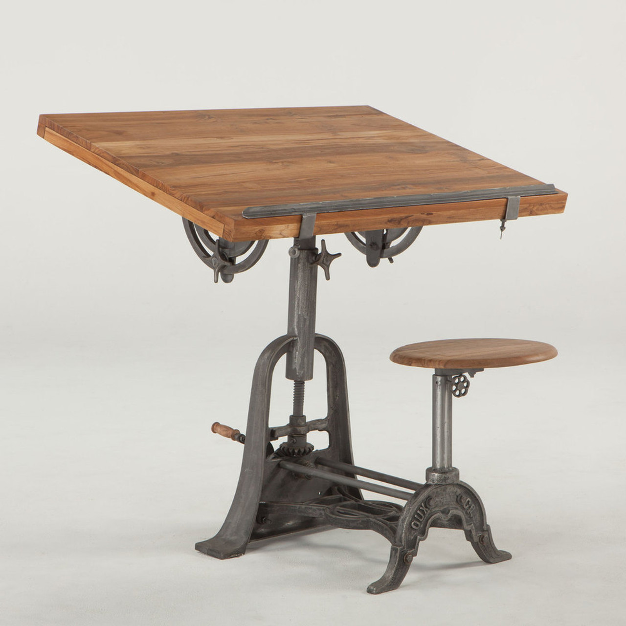 Ordinaire French Vintage Industrial Architect Drafting Table With Attached Seat