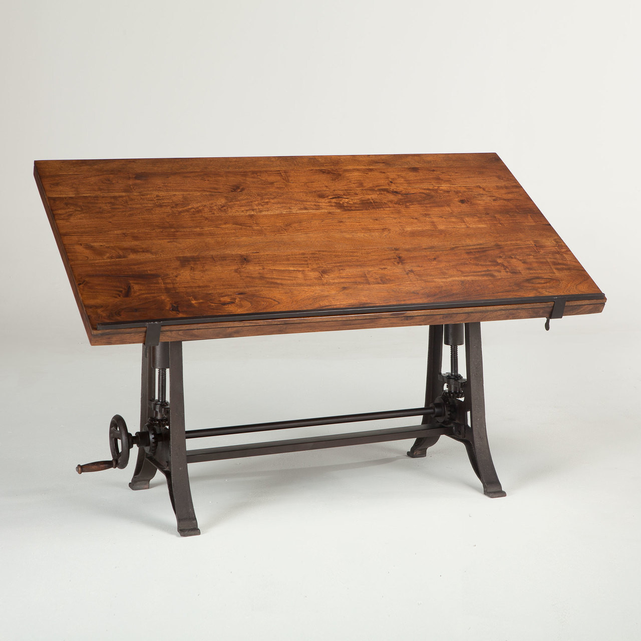 French Industrial Architect Drafting Table Walnut