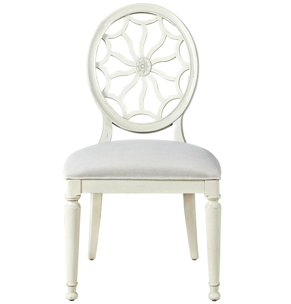 Sojourn Slip Upholstered Medallion Side Chair - White  sc 1 st  Zin Home & Sojourn Slip Upholstered Medallion Side Chair - White| Zin Home
