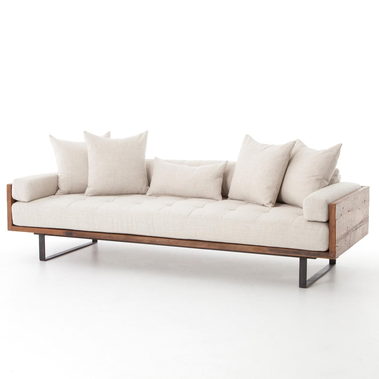 ranger rustic loft natural linen exposed wood sofa zin home. Black Bedroom Furniture Sets. Home Design Ideas