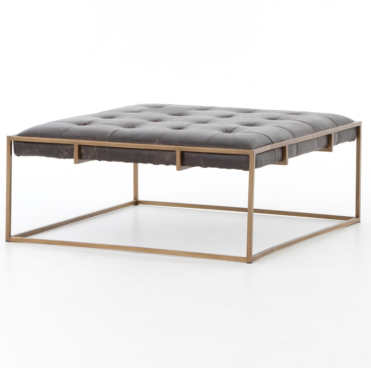 leather ottoman coffee table Oxford Tufted Black Leather Square Ottoman Coffee Table | Zin Home leather ottoman coffee table