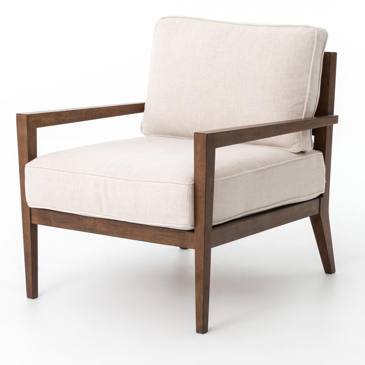 Laurent Wood Frame Beige Linen Accent Chair | Zin Home