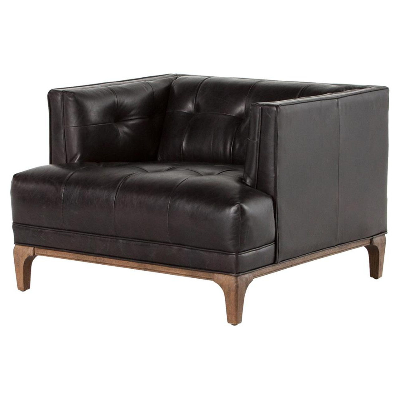 Dylan Mid Century Modern Tufted Black Leather Chair