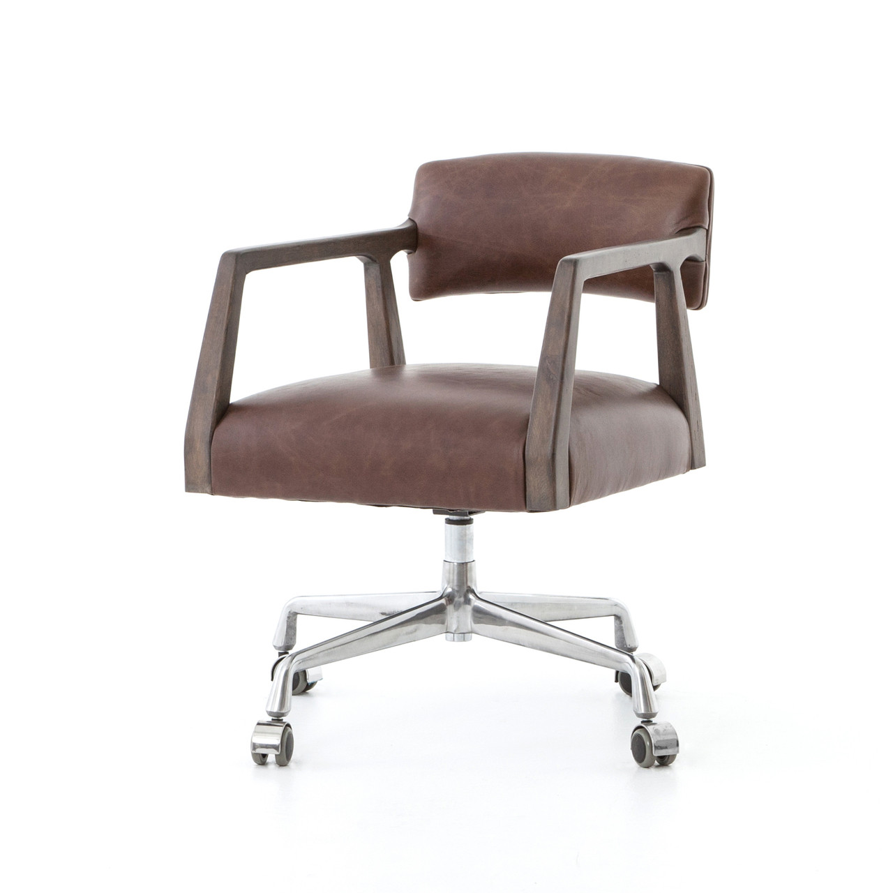 Incroyable Tyler Mid Century Modern Brown Leather Office Desk Chair