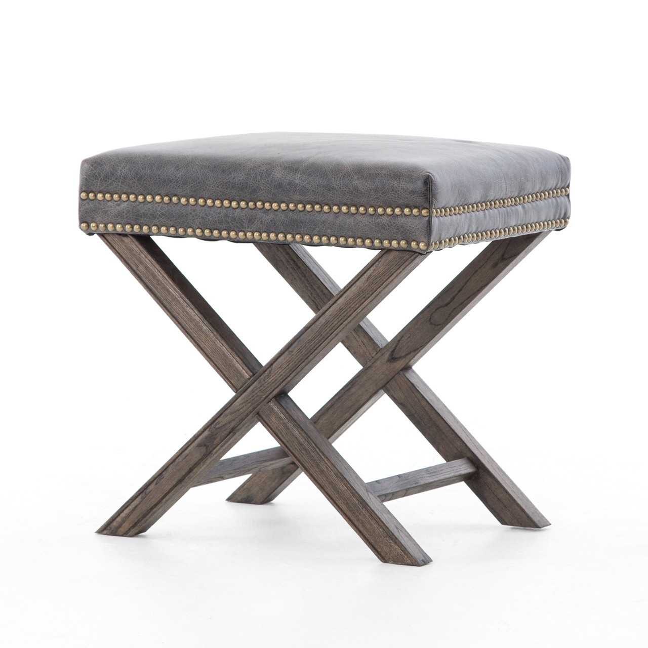 French Modern X Base Leather Stool Ottoman